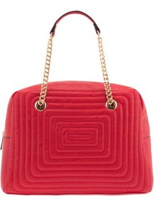 Red Labyrinth Hand Bag - predominant colour: true red; occasions: casual; style: tote; length: shoulder (tucks under arm); size: oversized; material: faux leather; embellishment: quilted; finish: plain; pattern: patterned/print