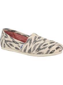 Grey Ikat Flat Shoes - secondary colour: ivory; predominant colour: mid grey; occasions: casual; material: fabric; heel height: flat; toe: round toe; style: ballerinas / pumps; finish: plain; pattern: patterned/print