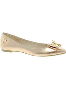 Loo Flat Pumps - predominant colour: gold; occasions: casual, evening, work; material: faux leather; heel height: flat; embellishment: studs; toe: pointed toe; style: ballerinas / pumps; trends: metallics; finish: patent; pattern: plain