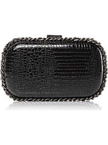 Moda In Pelle Jenbag Handbags - predominant colour: black; occasions: evening, occasion; type of pattern: light; style: clutch; length: hand carry; size: mini; material: faux leather; pattern: animal print; finish: patent; embellishment: chain/metal