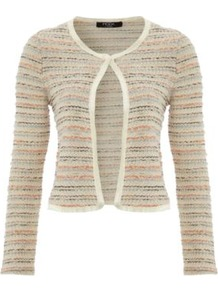 Moda Knitted Cardigan Cream - neckline: round neck; pattern: striped; length: cropped; predominant colour: stone; occasions: casual, work; style: standard; fibres: cotton - mix; fit: slim fit; sleeve length: long sleeve; sleeve style: standard; texture group: knits/crochet; pattern type: knitted - other; pattern size: standard
