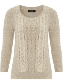 Moda Crochet Cable Jumper Wheat - neckline: round neck; style: standard; pattern: cable knit; predominant colour: stone; occasions: casual, work; length: standard; fibres: cotton - 100%; fit: standard fit; sleeve length: 3/4 length; sleeve style: standard; texture group: knits/crochet; pattern type: knitted - other; pattern size: standard