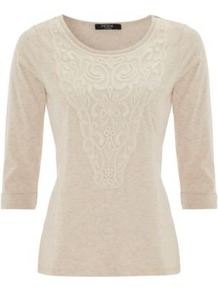 Moda Crochet Top Cream - neckline: round neck; pattern: plain; style: t-shirt; predominant colour: ivory; occasions: casual, work; length: standard; fibres: cotton - mix; fit: body skimming; bust detail: contrast pattern/fabric/detail at bust; sleeve length: 3/4 length; sleeve style: standard; pattern type: fabric; pattern size: standard; texture group: jersey - stretchy/drapey