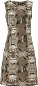 Snake Print Dress Multi - style: shift; neckline: round neck; fit: tailored/fitted; sleeve style: sleeveless; waist detail: fitted waist; predominant colour: taupe; occasions: casual, evening; length: just above the knee; fibres: polyester/polyamide - 100%; sleeve length: sleeveless; pattern type: fabric; pattern size: big &amp; busy; pattern: animal print; texture group: jersey - stretchy/drapey