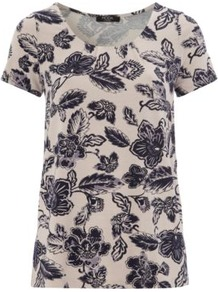 Moda Floral Top Multi - neckline: round neck; style: t-shirt; occasions: casual, holiday; length: standard; fibres: viscose/rayon - stretch; fit: straight cut; predominant colour: multicoloured; sleeve length: short sleeve; sleeve style: standard; pattern type: fabric; pattern size: big &amp; busy; pattern: florals; texture group: jersey - stretchy/drapey