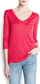 Devor Knit Sweater - neckline: low v-neck; style: standard; predominant colour: true red; occasions: casual, work; length: standard; fibres: polyester/polyamide - 100%; fit: standard fit; sleeve length: 3/4 length; sleeve style: standard; texture group: knits/crochet; pattern type: knitted - fine stitch