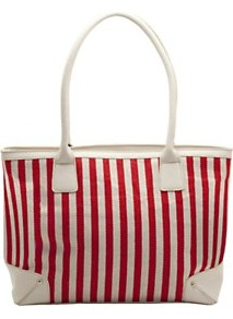 Large Shopper, Red - predominant colour: true red; occasions: casual, holiday; type of pattern: standard; style: tote; length: shoulder (tucks under arm); size: standard; material: fabric; trends: striking stripes; finish: plain; pattern: vertical stripes