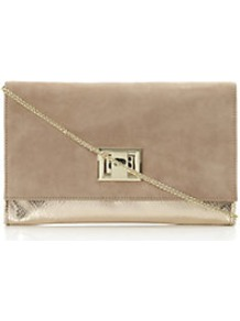 Bacco Mixed Suedeand Metallic Clutch Bag - predominant colour: taupe; occasions: evening, occasion; type of pattern: standard; style: clutch; length: hand carry; size: standard; material: suede; pattern: plain; trends: metallics; finish: metallic