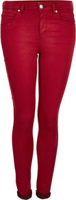 Moto Cherry Leigh Skinny Jean - style: skinny leg; pattern: plain; pocket detail: traditional 5 pocket; waist: mid/regular rise; predominant colour: true red; occasions: casual; length: ankle length; fibres: cotton - stretch; jeans detail: dark wash; jeans &amp; bottoms detail: turn ups; texture group: denim; pattern type: fabric; pattern size: standard