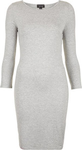 Plain Short Bodycon Dress - length: mid thigh; neckline: round neck; fit: tight; pattern: plain; style: bodycon; hip detail: fitted at hip; predominant colour: light grey; occasions: casual, evening, work; fibres: polyester/polyamide - stretch; sleeve length: long sleeve; sleeve style: standard; pattern type: fabric; pattern size: standard; texture group: jersey - stretchy/drapey