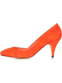 Jilted Almond Toe Heels - predominant colour: bright orange; occasions: casual, evening, work, occasion; material: suede; heel height: mid; heel: standard; toe: pointed toe; style: courts; finish: plain; pattern: plain