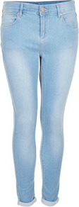 Petite Moto Bleach Leigh Jeans - style: skinny leg; pattern: plain; pocket detail: traditional 5 pocket; waist: mid/regular rise; predominant colour: pale blue; occasions: casual; length: ankle length; fibres: cotton - stretch; jeans detail: shading down centre of thigh, washed/faded; jeans & bottoms detail: turn ups; texture group: denim; pattern type: fabric