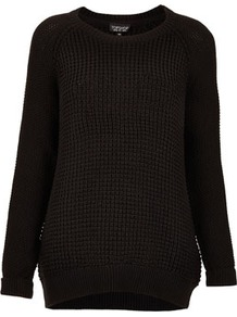 Mix Knit Slouchy Jumper - neckline: round neck; style: standard; predominant colour: black; occasions: casual; length: standard; fibres: acrylic - 100%; fit: loose; back detail: longer hem at back than at front; sleeve length: long sleeve; sleeve style: standard; texture group: knits/crochet; pattern type: knitted - other