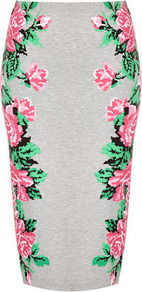 Pixel Flower Tube Skirt - length: below the knee; fit: tight; waist: high rise; predominant colour: light grey; occasions: casual, evening, work, holiday; fibres: polyester/polyamide - mix; style: tube; hip detail: contrast fabric/print detail at hip; trends: high impact florals; pattern type: fabric; pattern size: big &amp; light; pattern: florals; texture group: jersey - stretchy/drapey
