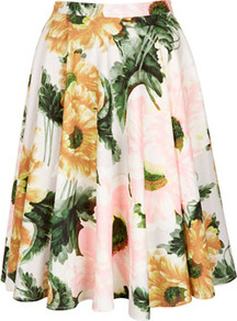 Flower Calf Skirt - length: mid thigh; style: full/prom skirt; fit: loose/voluminous; waist detail: fitted waist; waist: high rise; occasions: casual, evening, work, occasion, holiday; fibres: cotton - stretch; hip detail: soft pleats at hip/draping at hip/flared at hip; predominant colour: multicoloured; trends: high impact florals, volume; pattern type: fabric; pattern size: big &amp; busy; texture group: jersey - stretchy/drapey