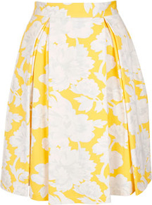 Yellow Floral Pleat Calf Skirt - fit: body skimming; style: pleated; waist detail: fitted waist; waist: high rise; predominant colour: yellow; occasions: casual, evening, work, occasion, holiday; length: just above the knee; fibres: cotton - stretch; hip detail: structured pleats at hip; trends: high impact florals, volume; pattern type: fabric; pattern size: big & busy; pattern: florals; texture group: other - light to midweight