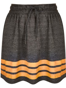 Grey Varsity Skater Skirt - length: mid thigh; pattern: horizontal stripes; fit: body skimming; waist detail: elasticated waist, fitted waist, belted waist/tie at waist/drawstring; waist: mid/regular rise; predominant colour: charcoal; occasions: casual, holiday; style: a-line; fibres: polyester/polyamide - mix; hip detail: ruching/gathering at hip, soft pleats at hip/draping at hip/flared at hip; trends: striking stripes, sporty redux; pattern type: fabric; pattern size: standard; texture group: jersey - stretchy/drapey
