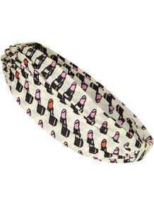 Lipstick Headband - predominant colour: ivory; occasions: casual, holiday; type of pattern: standard; style: turban; size: standard; material: fabric; trends: statement prints; pattern: patterned/print