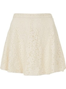 Petite Lace Skater Skirt - length: mid thigh; pattern: plain; style: full/prom skirt; fit: loose/voluminous; waist: mid/regular rise; predominant colour: ivory; occasions: casual, evening, work, occasion, holiday; fibres: cotton - mix; hip detail: soft pleats at hip/draping at hip/flared at hip; waist detail: narrow waistband; texture group: lace; trends: volume; pattern type: fabric; pattern size: standard