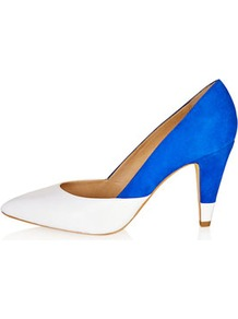 Glimpse Colour Mix Court Heels - predominant colour: diva blue; occasions: evening, work, occasion; material: leather; heel height: high; heel: cone; toe: pointed toe; style: courts; finish: plain; pattern: colourblock