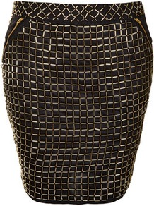 Premium Grid Embellished Skirt - pattern: plain; fit: body skimming; waist: mid/regular rise; predominant colour: black; occasions: casual, evening, work, occasion, holiday; length: just above the knee; style: mini skirt; fibres: cotton - 100%; hip detail: added detail/embellishment at hip; waist detail: narrow waistband; texture group: structured shiny - satin/tafetta/silk etc.; trends: metallics, modern geometrics; pattern type: fabric; pattern size: small & busy; embellishment: beading