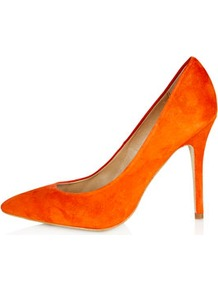 Gwenda Pointed Courts - predominant colour: bright orange; occasions: evening, work, occasion; material: suede; heel height: high; heel: stiletto; toe: pointed toe; style: courts; finish: plain; pattern: plain