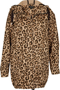 Leopard Ovoid Parka Jacket - length: below the bottom; style: parka; back detail: hood; collar: high neck; predominant colour: chocolate brown; occasions: casual, work; fit: straight cut (boxy); fibres: cotton - 100%; sleeve length: long sleeve; sleeve style: standard; texture group: cotton feel fabrics; trends: statement prints; collar break: high; pattern type: fabric; pattern size: small &amp; busy; pattern: animal print
