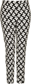 Block Print Skinny Trousers - length: standard; pocket detail: small back pockets, pockets at the sides; waist: mid/regular rise; predominant colour: black; occasions: casual, evening, work, holiday; fibres: polyester/polyamide - mix; hip detail: fitted at hip (bottoms); trends: modern geometrics; fit: slim leg; pattern type: fabric; pattern size: big &amp; busy; pattern: patterned/print; texture group: woven light midweight; style: standard