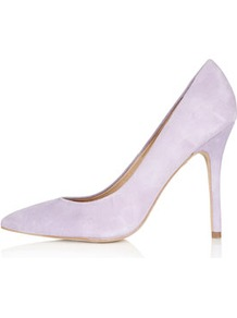Gwenda Pointed Courts - predominant colour: lilac; occasions: casual, evening, work, occasion; material: suede; heel height: high; heel: stiletto; toe: pointed toe; style: courts; finish: plain; pattern: plain
