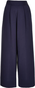 Crepe Wide Trousers Boutique - length: standard; pattern: plain; style: palazzo; waist: high rise; predominant colour: navy; occasions: casual, evening, work; fibres: cotton - mix; hip detail: front pleats at hip level; waist detail: narrow waistband; texture group: crepes; trends: volume; fit: wide leg; pattern type: fabric