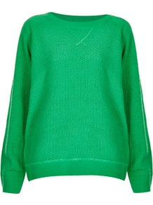 Knitted Mix Stitch Sweater - neckline: round neck; pattern: plain; style: standard; predominant colour: emerald green; occasions: casual; length: standard; fibres: acrylic - 100%; fit: loose; sleeve length: long sleeve; sleeve style: standard; texture group: knits/crochet; pattern type: knitted - other; pattern size: standard