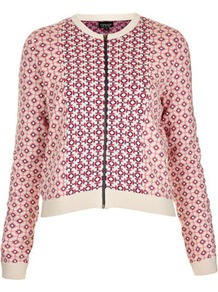 Knitted Spring Tile Jacket - collar: round collar/collarless; style: bomber; predominant colour: pink; occasions: casual; length: standard; fit: straight cut (boxy); fibres: cotton - 100%; sleeve length: long sleeve; sleeve style: standard; texture group: knits/crochet; trends: statement prints; collar break: high; pattern type: fabric; pattern size: small & busy; pattern: patterned/print