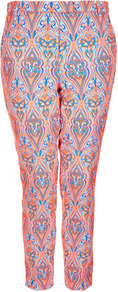 Fluro Paisley Trousers - pocket detail: small back pockets, pockets at the sides; pattern: paisley; waist: mid/regular rise; predominant colour: coral; occasions: casual, evening, occasion; length: ankle length; fibres: polyester/polyamide - mix; waist detail: narrow waistband; texture group: ornate wovens; trends: statement prints; fit: slim leg; pattern type: fabric; pattern size: big &amp; busy; style: standard