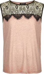 Eyelash Lace Shell Tank - neckline: round neck; pattern: plain; sleeve style: sleeveless; predominant colour: blush; occasions: casual, evening, work; length: standard; style: top; fibres: cotton - mix; fit: straight cut; shoulder detail: added shoulder detail; sleeve length: sleeveless; pattern type: fabric; pattern size: standard; texture group: jersey - stretchy/drapey
