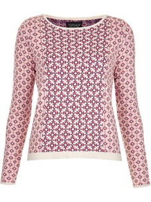 Knitted Spring Tile Jumper - neckline: round neck; style: standard; occasions: casual; length: standard; fibres: cotton - 100%; fit: standard fit; predominant colour: multicoloured; sleeve length: long sleeve; sleeve style: standard; texture group: knits/crochet; pattern type: fabric; pattern size: big & light; pattern: patterned/print