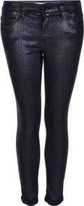 Petite Moto Glitter Leigh Jeans - style: skinny leg; length: standard; pattern: plain; pocket detail: traditional 5 pocket; waist: mid/regular rise; predominant colour: black; occasions: casual, evening; fibres: cotton - stretch; jeans detail: dark wash; jeans &amp; bottoms detail: turn ups; texture group: denim; trends: metallics; pattern type: fabric; pattern size: standard