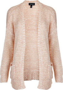 Knitted Mix Yarn Slouchy Cardi - hip detail: side pockets at hip; length: below the bottom; neckline: collarless open; style: open front; predominant colour: blush; occasions: casual, work; fibres: acrylic - mix; fit: loose; sleeve length: long sleeve; sleeve style: standard; texture group: knits/crochet; pattern type: knitted - fine stitch; pattern size: standard