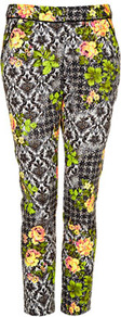 Petite Acid Leaf Print Trousers - pocket detail: pockets at the sides; waist: mid/regular rise; predominant colour: charcoal; occasions: casual, evening, work, holiday; length: ankle length; fibres: cotton - stretch; waist detail: narrow waistband; texture group: cotton feel fabrics; trends: high impact florals, statement prints, fluorescent; fit: slim leg; pattern type: fabric; pattern size: big & busy; pattern: florals; style: standard