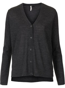 Knitted Merino V Neck Cardi - neckline: low v-neck; pattern: plain; bust detail: buttons at bust (in middle at breastbone)/zip detail at bust; predominant colour: charcoal; occasions: casual, work; length: standard; style: standard; fibres: wool - 100%; fit: standard fit; sleeve length: long sleeve; sleeve style: standard; texture group: knits/crochet; pattern type: knitted - fine stitch; pattern size: standard