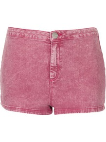 Moto Berry Acid 50s Hotpants - pattern: plain; pocket detail: large back pockets; length: short shorts; waist: mid/regular rise; style: hot pants; predominant colour: purple; occasions: casual, holiday; fibres: cotton - mix; waist detail: narrow waistband; texture group: denim; fit: skinny/tight leg; pattern type: fabric; pattern size: standard