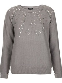 Knitted Embellished Ray Jumper - neckline: round neck; bust detail: added detail/embellishment at bust; style: standard; predominant colour: mid grey; occasions: casual, evening, work; length: standard; fibres: acrylic - mix; fit: standard fit; sleeve length: long sleeve; sleeve style: standard; texture group: knits/crochet; pattern type: fabric; pattern size: small &amp; light; pattern: patterned/print