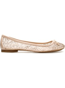 Shiny Ballerina - predominant colour: nude; occasions: casual, evening, work, holiday; material: fabric; heel height: flat; embellishment: crystals; toe: round toe; style: ballerinas / pumps; finish: plain; pattern: plain