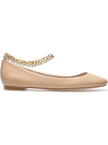 Ballerina With Ankle Strap - predominant colour: nude; occasions: casual, evening, work; material: leather; heel height: flat; ankle detail: ankle strap; toe: round toe; style: ballerinas / pumps; finish: plain; pattern: plain; embellishment: chain/metal