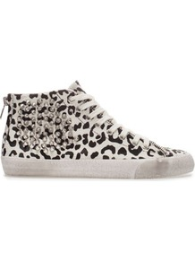 Leopard Print Sneaker - predominant colour: black; occasions: casual, holiday; material: animal skin; heel height: flat; embellishment: studs; heel: standard; toe: round toe; boot length: ankle boot; style: high top; trends: statement prints, metallics; finish: metallic; pattern: animal print