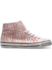 Studded Plimsoll - predominant colour: blush; occasions: casual; material: fabric; heel height: flat; embellishment: crystals; heel: standard; toe: round toe; boot length: ankle boot; style: high top; finish: plain; pattern: tie dye