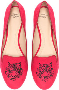 Tiger Slippers - predominant colour: true red; occasions: casual, evening, work; material: faux leather; heel height: flat; embellishment: embroidered; toe: round toe; style: ballerinas / pumps; finish: plain; pattern: patterned/print