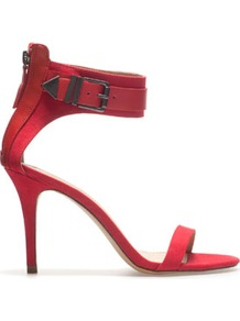 Sandal With Buckle - predominant colour: true red; occasions: evening, work, occasion, holiday; material: faux leather; heel height: high; ankle detail: ankle strap; heel: stiletto; toe: open toe/peeptoe; style: standard; finish: plain; pattern: plain
