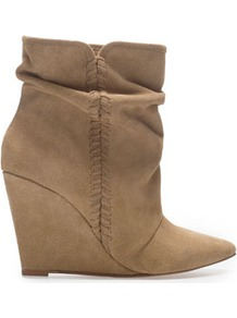 Suede Wedge Ankle Boot - predominant colour: camel; occasions: casual, evening, work; material: suede; heel height: high; heel: wedge; toe: pointed toe; boot length: ankle boot; style: standard; finish: plain; pattern: plain