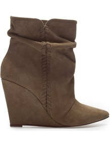 Suede Wedge Ankle Boot - predominant colour: chocolate brown; occasions: casual, evening, work; material: suede; heel height: high; heel: wedge; toe: pointed toe; boot length: ankle boot; style: standard; finish: plain; pattern: plain