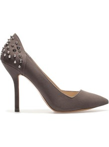 Court Shoe With Studded Heel - predominant colour: charcoal; occasions: evening, work, occasion; material: faux shearling; heel height: high; embellishment: studs; heel: stiletto; toe: pointed toe; style: courts; trends: metallics; finish: plain; pattern: plain
